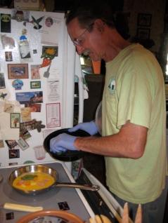 Steve making an omelet